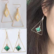 Geometric original triangular texture emerald square exaggerated shell earring(China)
