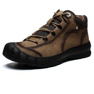 Image 2 - Męskie nowe skórzane buty zimowe utrzymuj ciepłą skórę bydlęcą miękkie na zewnątrz wspinaczka górska toolingskid odporność modne obuwie
