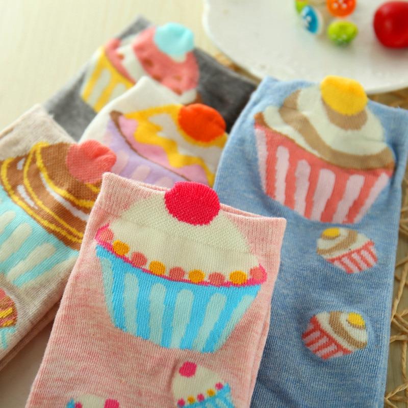 5 Pairs Women Cotton Sock Cupcake Comfortable Short Funny Socks Cute Kawaii Cream Fairy Patty Cake Sugar Milk Lovely Ankle Socks
