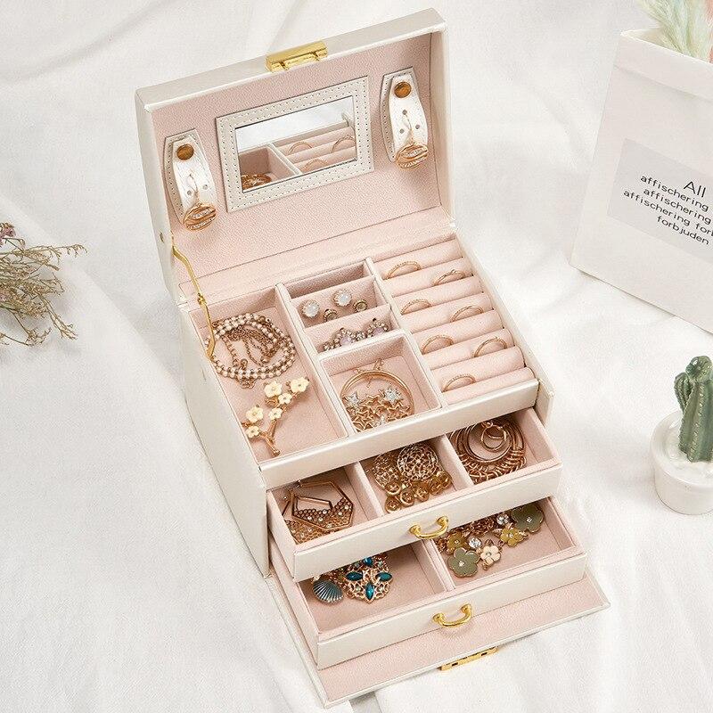 Couro do plutônio multi-camada caixa de jóias gaveta meninas brincos colar com espelho de bloqueio de armazenamento organizador caso acessórios suprimentos