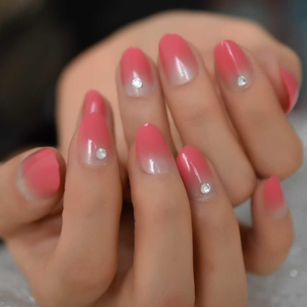 Глянцевый градиент Омбре розовый Французский Овальный пресс на накладные ногти натуральные короткие круглые УФ 3D Стразы искусственные губки искусственные Пальцы для ногтей|Накладные ногти| | АлиЭкспресс
