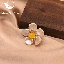 Xlentag брошь в форме цветка с белым жемчугом стиле барокко