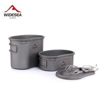 Widesea titanium canteen camping tableware outdoor cookware army pot pan picnic set hiking tourist kichen cooking mess kit