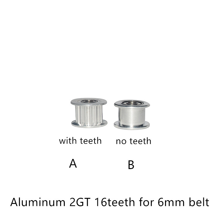 2GT 16 Teeth Synchronous Wheel Idler Pulley Bore 3mm With Bearing For GT2 Timing Belt Width 6mm 16teeth 16T