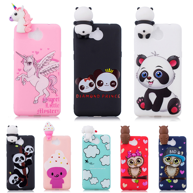 3D Soft Silicone TPU Case For Huawei Y5 2017 Cute Panda Owl Unicorn Phone Cases For Huawei Y6 2017 Cover Coque