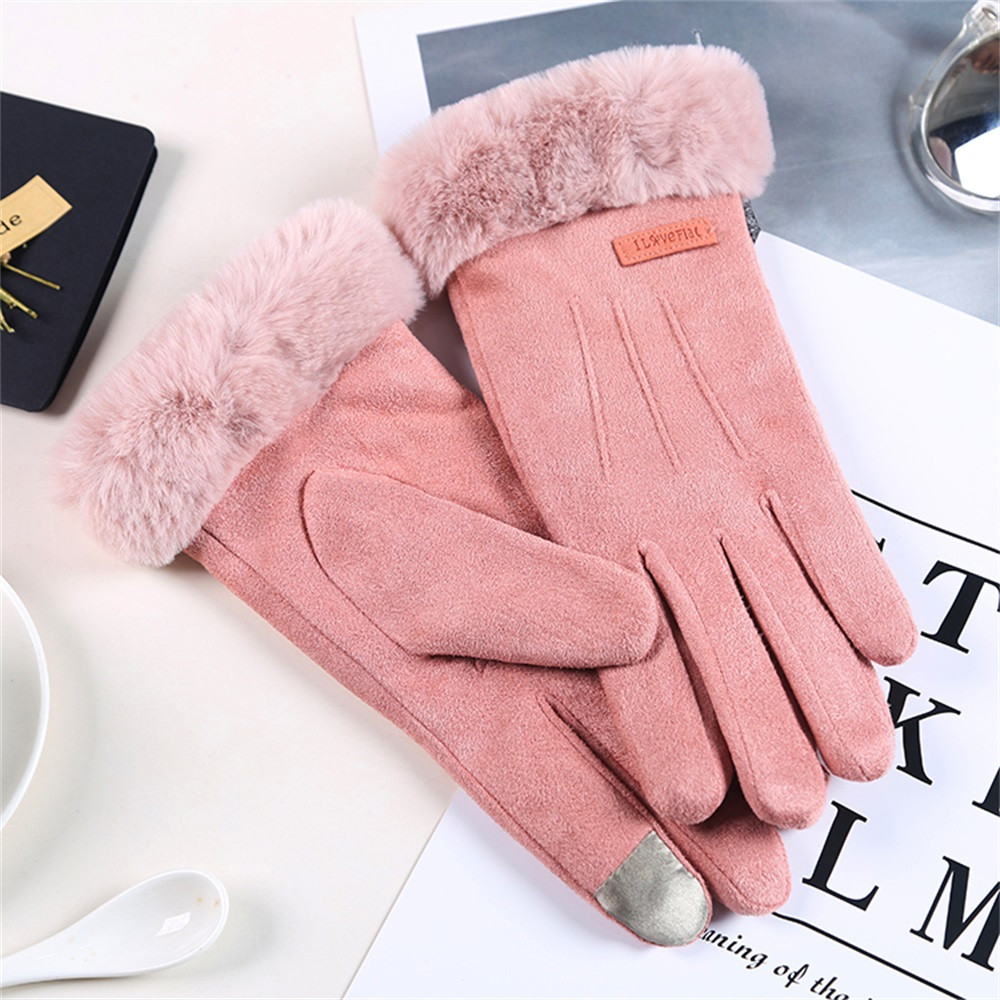 Women Winter Thermal Gloves Unisex Vintage Solid Fur Twist Gloves Wool Women Winter Keep Warm Hand Gloves Gifts Mittens Guantes