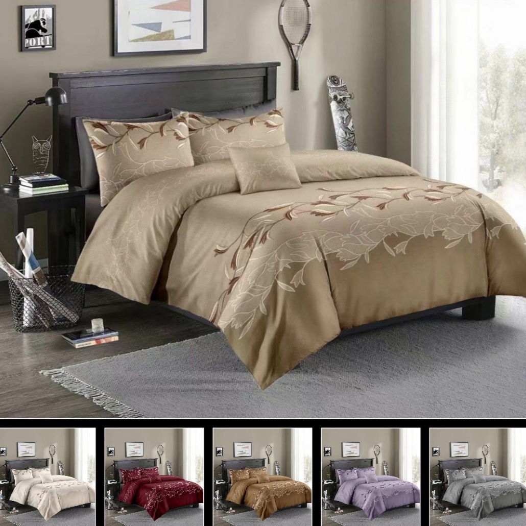 <font><b>2</b></font> or 3pcs Bedding Set Luxury Flowers printing Duvet Cover Sets with Zipper Closure <font><b>1</b></font> Quilt Cover + <font><b>1</b></font>/<font><b>2</b></font> Pillowcases US/EU/AU Size image