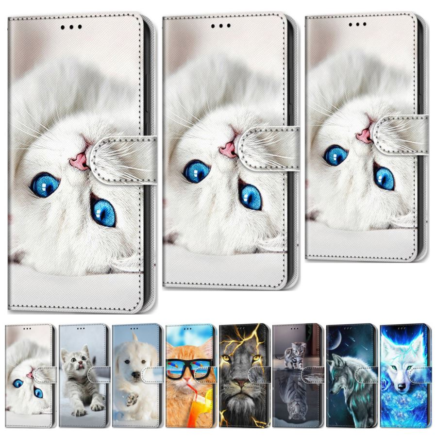 Wolf <font><b>Lion</b></font> Dog Boys Holster For <font><b>Xiaomi</b></font> Note 10 <font><b>Mi</b></font> Play CC9 Redmi 7 7A 8 8A Y2 K20 Pro K30 White Cat Cute Animal Phone Cover O08F image