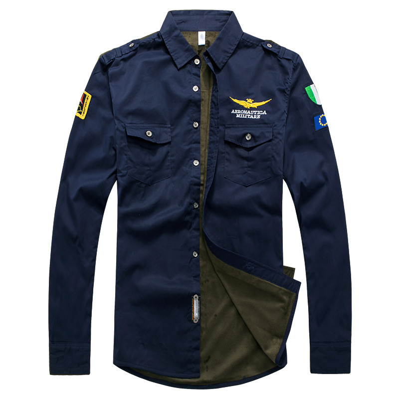 2019 MEN'S Wear Long Sleeve Cotton Plus Velvet Shirt Air Force One Uniform Flight Casual Shirt Large Size Fashion Man Shirt