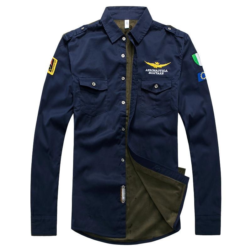 2019 MEN'S Wear Long Sleeve Cotton Plus Velvet Shirt Air Force One Uniform Flight Casual Shirt Large Size Fashion Man Shirt