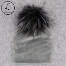 Осенне-зимняя плотная Теплая Бархатная детская шапка с меховым помпоном, шапки, мягкие хлопковые шапки для новорожденных мальчиков и девочек