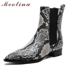 Купить с кэшбэком Meotina Real Leather Chelsea Boots Women Snake Print Flat Ankle Boots Natural Genuine Leather Pointed Toe Shoes Female Autumn 39