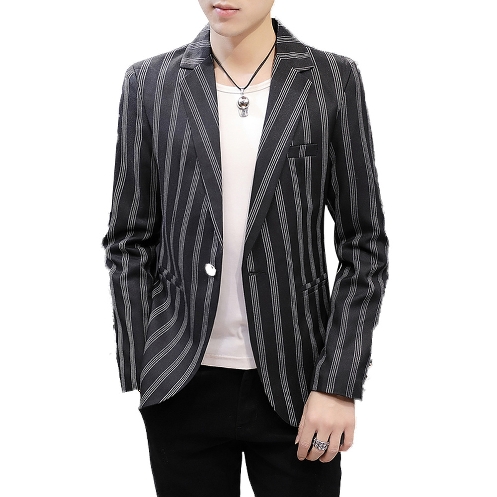British Classic Striped Blazer Mens Wedding Clothing 2019 New Spring Summer Casual Slim Fit Suit Jacket Coat Male