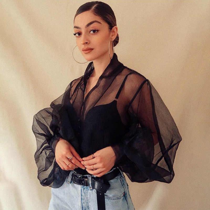 여성 레이스 메쉬 롱 퍼프 슬리브 셔츠 탑스 v 넥 블랙 화이트 버튼 여성 셔츠 2020 봄 여름 패션 블라우스 레이디