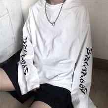 Retro mektup baskı kadın T shirt gevşek Harajuku tarzı öğrenci Tees sonbahar vahşi katı pamuklu üst giyim moda 2020