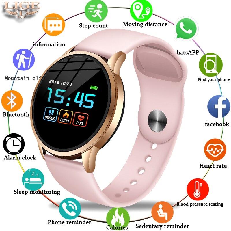 LIGE rastreador de fitness smart watch Esporte Para IOS Android phone Smartwatch À Prova D' Água Heart Rate Monitor de Pressão Arterial Funções
