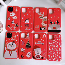 JAMULAR Cartoon Christmas Case For iPhone 11 Pro MAX X XS XR 7 8 6 6s Plus Santa Claus Red Silicone Soft Phone Cover Fundas