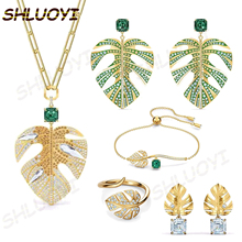 Sweater Necklace Charming Fashion Jewelry Midsummer Gold Girl Leaves SHLUOYI Retro High-Quality