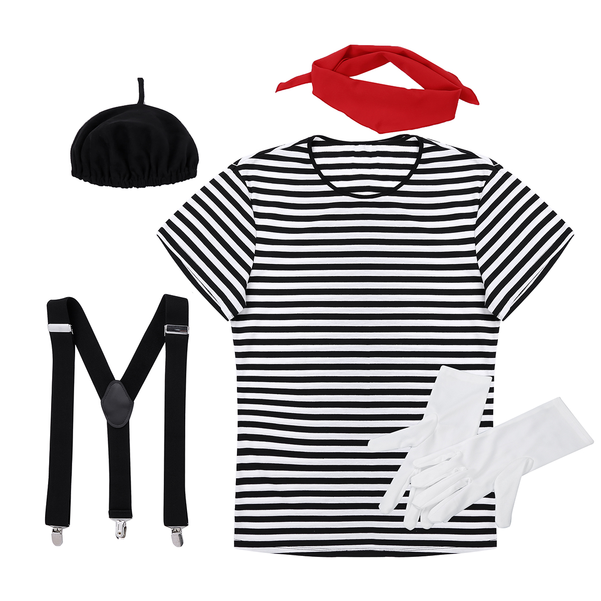Image 3 - Men Adults French Mime Artist Circus Halloween Cosplay Costume Striped T shirt with Beret Red Scarf Suspender and GlovesHolidays Costumes   -