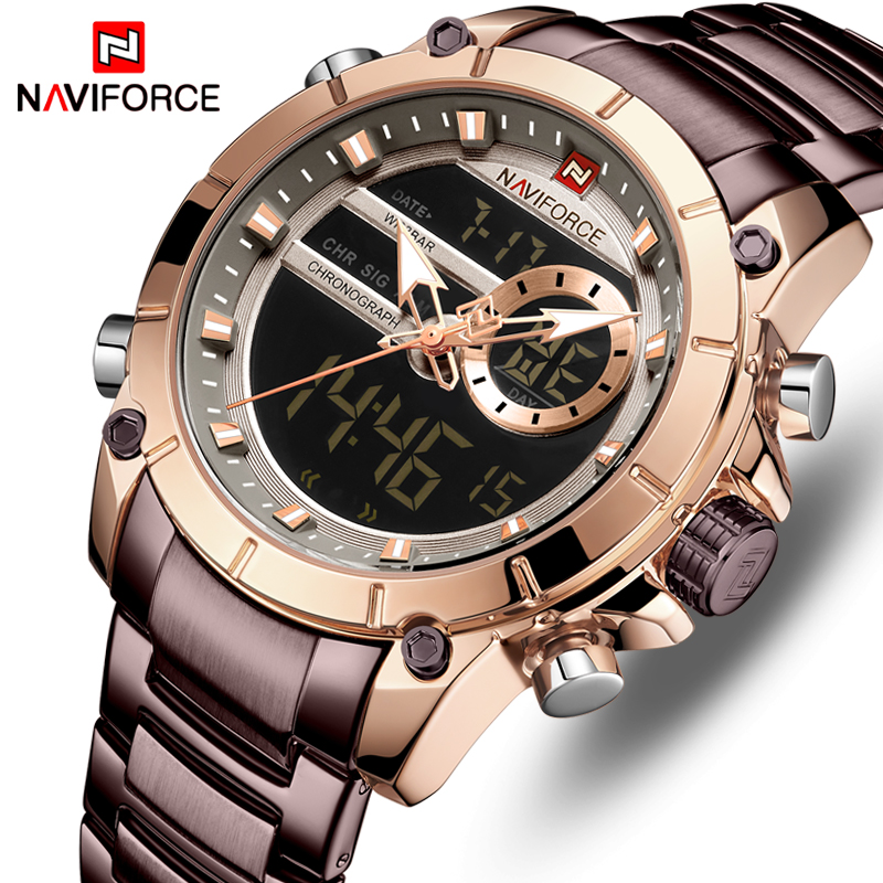 NAVIFORCE Men Watch Top Luxury Brand Men's  Sports Military Watches Full Steel Waterproof Quartz Digital Clock Relogio Masculino-in Quartz Watches from Watches