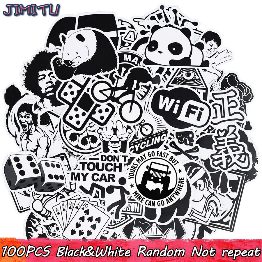 100pcs Black And White Random Stickers Graffiti Funny Sticker For Laptop Suitcase Skateboard Moto Bicycle Car Kid's Toy Stickers