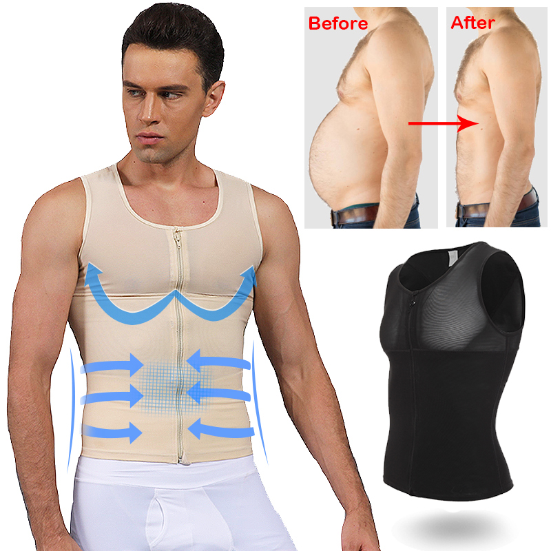 Mens Slimming Body Shaper Chest Compression Shirt Abs Abdomen Undershirt Gynecomastia Moobs Waist Trimmer Sweat Vest S-3XL
