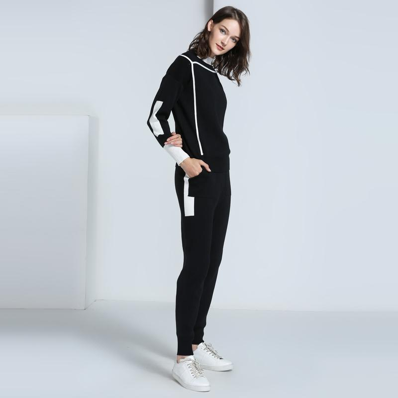 2019 Women Tracksuit Clothes New Spring Autumn Pullover Sweater Top And Slim Pants 2 Piece Sets Woman Sportsuits Knit Outfit