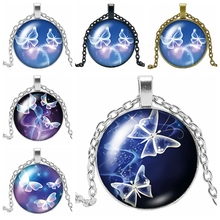 HOT! 2019 New Fashion Dynamic Butterfly Glass Convex Round Pendant Necklace Personalized Element
