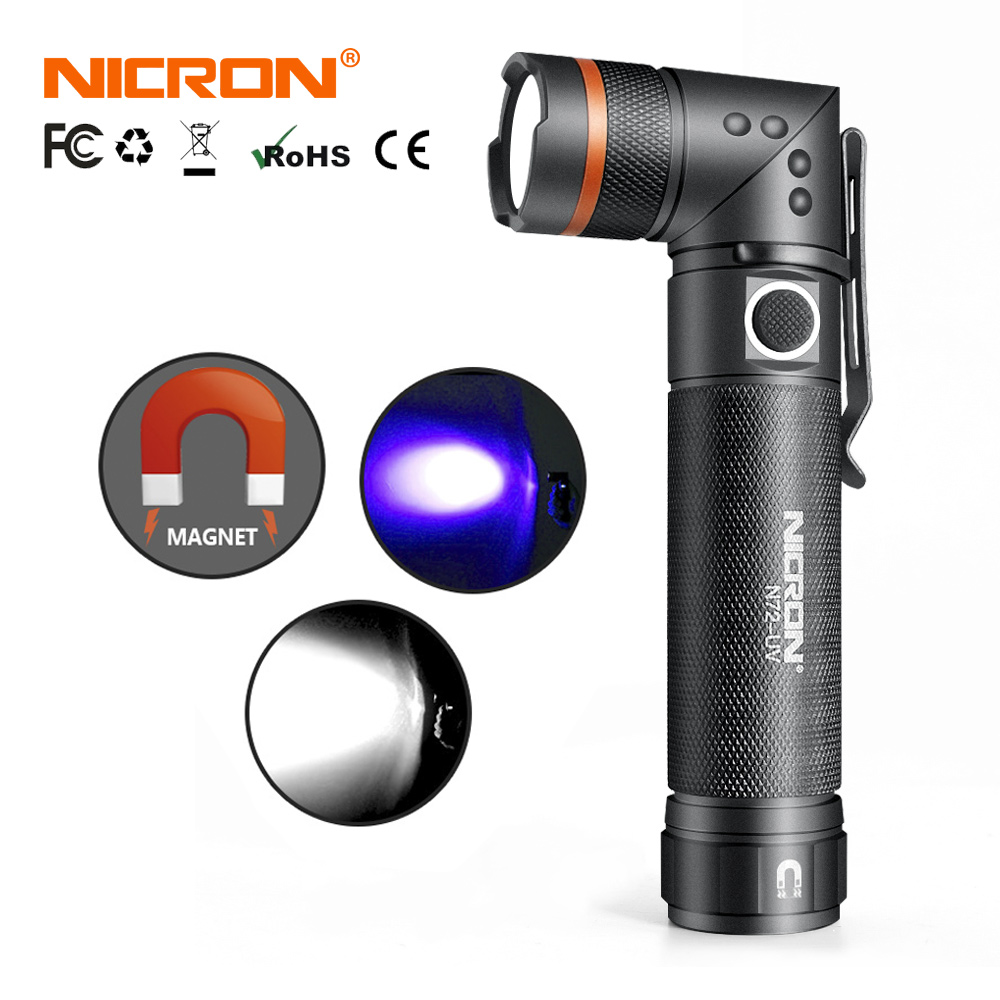 NICRON White / UV Light LED Flashlight N72 / N72-UV 90 Degree Twist Waterproof 800LM 18650 / AAA Battery Magnet LED Torch Light
