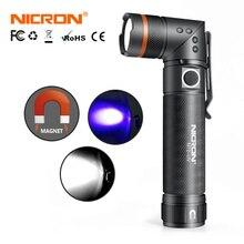 NICRON beyaz/UV ışık LED el feneri N72/N72 UV 90 derece büküm su geçirmez 800LM 18650/AAA pil mıknatıs LED meşale ışık