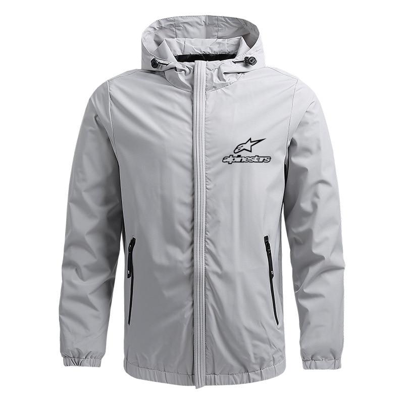Giacca calda da uomo alla moda con cerniera leggera con cappuccio giacca da sole impermeabile e antivento abbigliamento sportivo da esterno Alpine Star