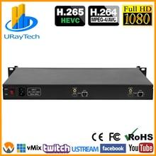 1U стойка 2 канала HDMI кодер IPTV HD Видео Аудио потоковое к IP Live кодер H.265 H.264 с RTMP RTMPS HLS M3U8 ONVIF
