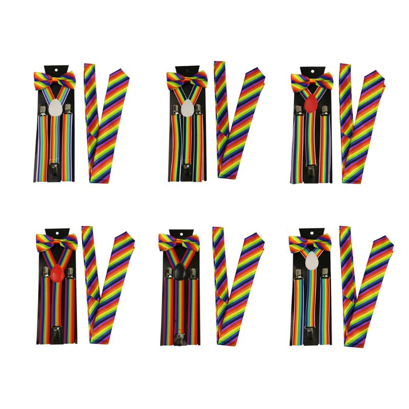 Men Women 3 Piece Rainbow Striped Costume Set Adjustable Y-Back Elastic Suspenders Bow Tie Necktie Party Accessories