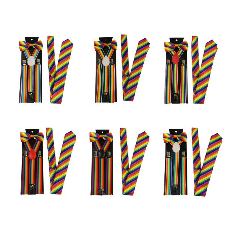 Men Women 3 Piece Rainbow Striped Costume Set Adjustable Y-Back Elastic Suspenders Bow Tie Necktie Party Accessories