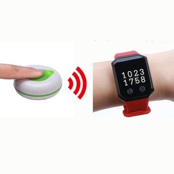 BYHUBYENG Restaurant Food Caller Pocsag 1 wrist watch+2 pcs Call Button Wireless Waiter Calling System Wireless Pager System