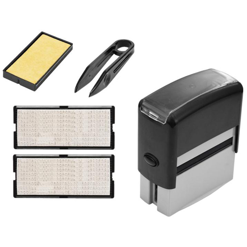 Self Inking Stamp Set Custom Personalised DIY Business Name Number Address Printing Rubber Stamp With Tweezers Kit