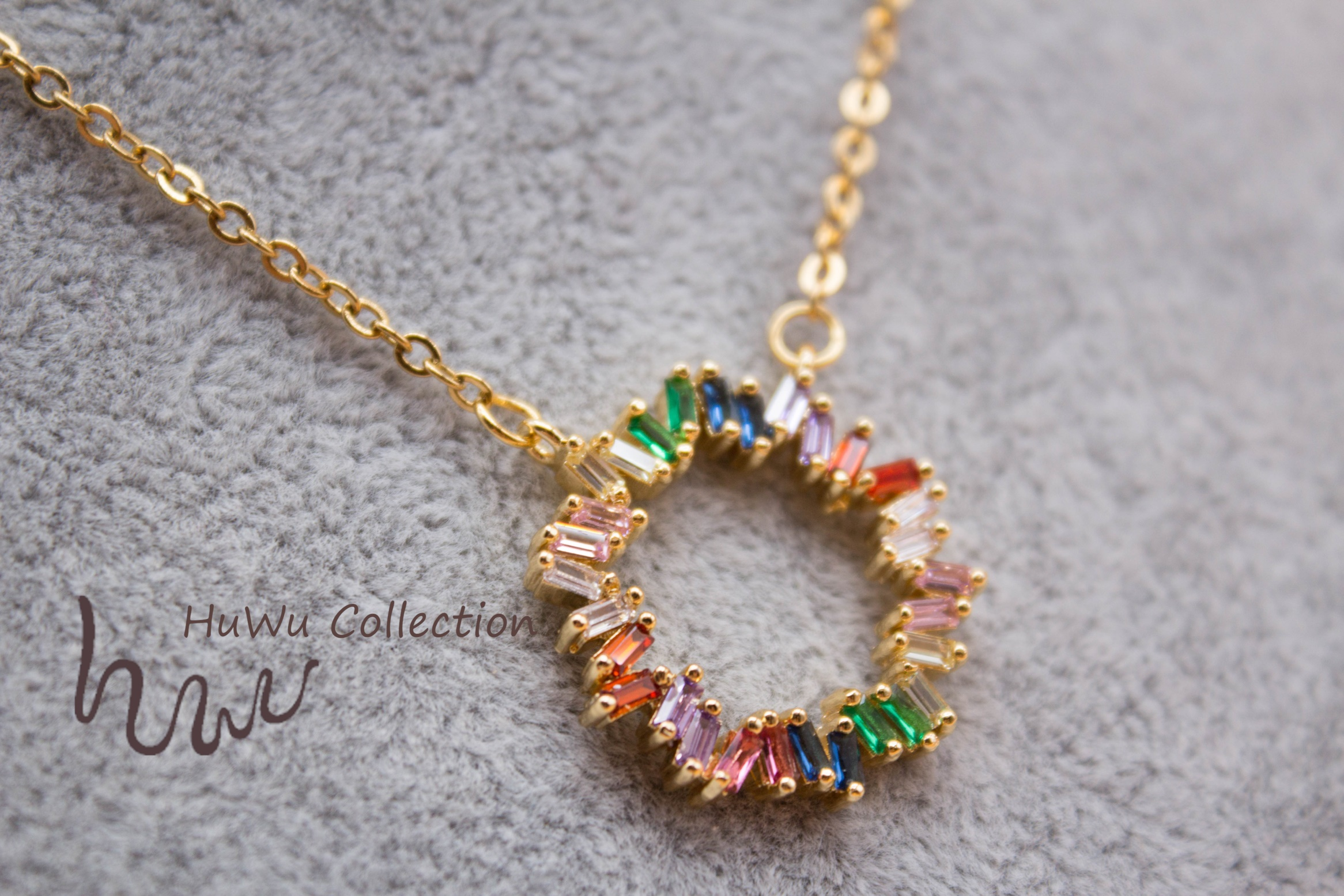MultiColor Zirconia Necklace for Women Rainbow Luxury Pendant with Plated Gold and Colorful Zircons from HuWu Independent Design