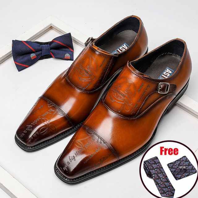 Phenkang Men Genuine Leather Formal Shoes Pointed Toe Sharp Buckle Oxford Dress Wedding Party Business Platform Shoes