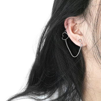 1pcs Korean Style Punk Hip Hop Long Chain Drop Ear Stud Circle Heart Dangle Earrings Accessories Ear Clip image