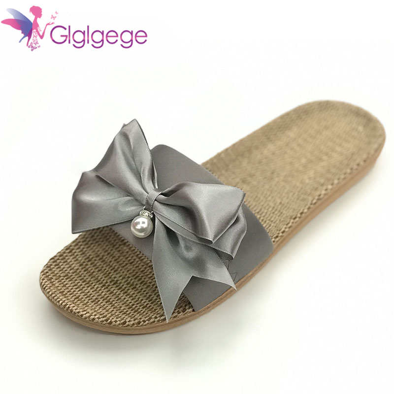 New Glglgeg 2019 New Casual Sneakers For Home Slippers Summer Bow-knot Soft Floor Woman Indoor Flats Shoes Cute Linen Slipper Terlik
