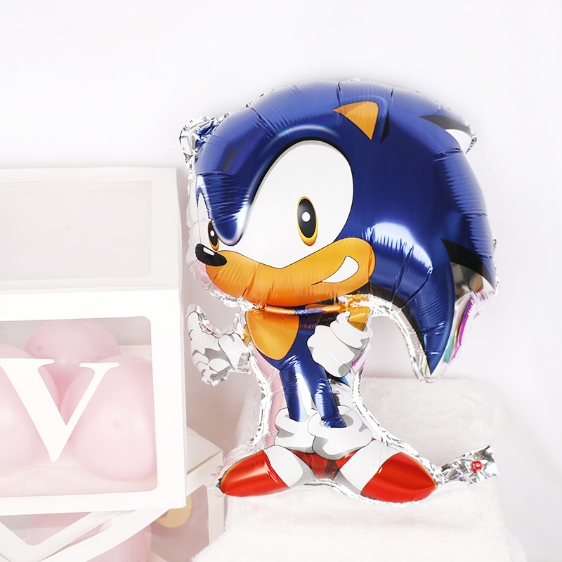 1pcs Sonic the Hedgehog Superhero Double SIded Foil Balloon Party balloon decoration supplies video game film Sonic the Hedgehog image