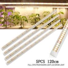 Barra de luz LED para cultivo de plantas, lámpara hidropónica de espectro completo, para cultivo de semillas vegetales en interior, 120cm, lote de 5 unidades