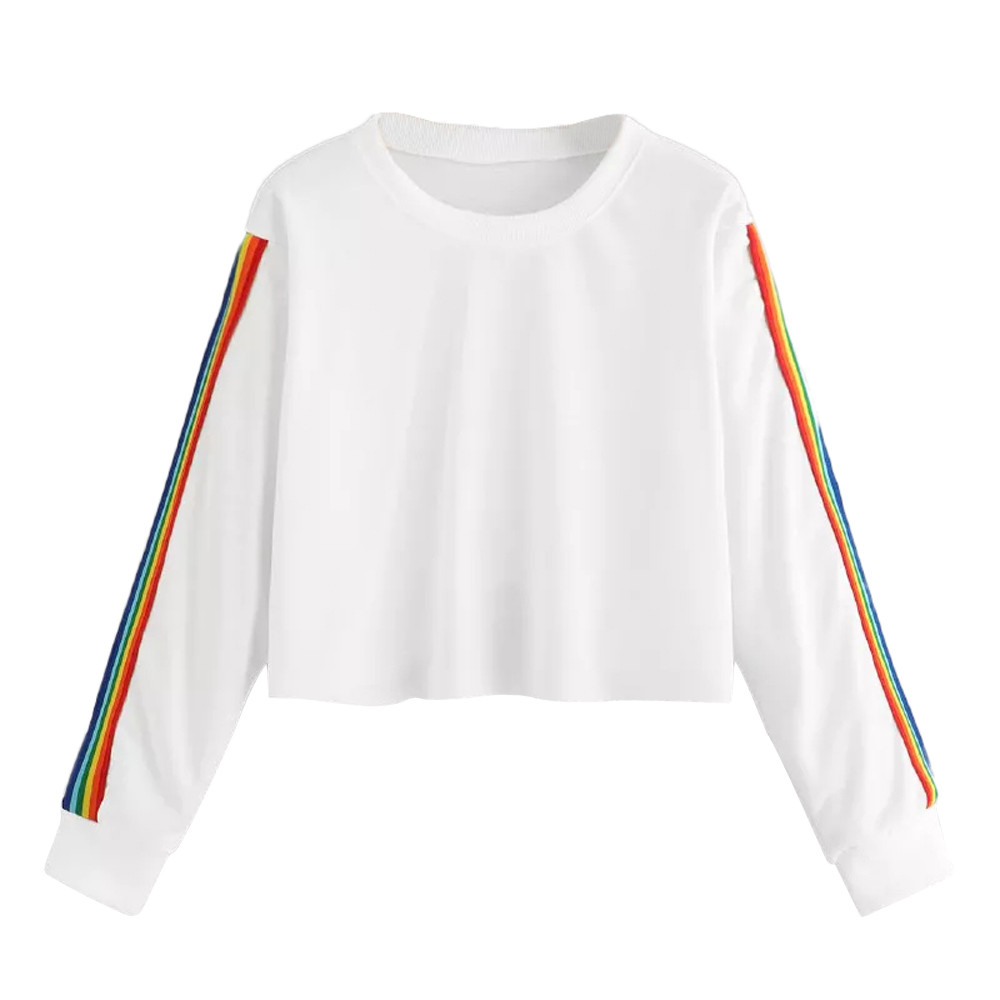 JAYCOSIN Trend Women Rainbow Patchwork Sweatshirt Casual Simple Long Sleeve Solid Color Comfortable Soft Blouse Pullover