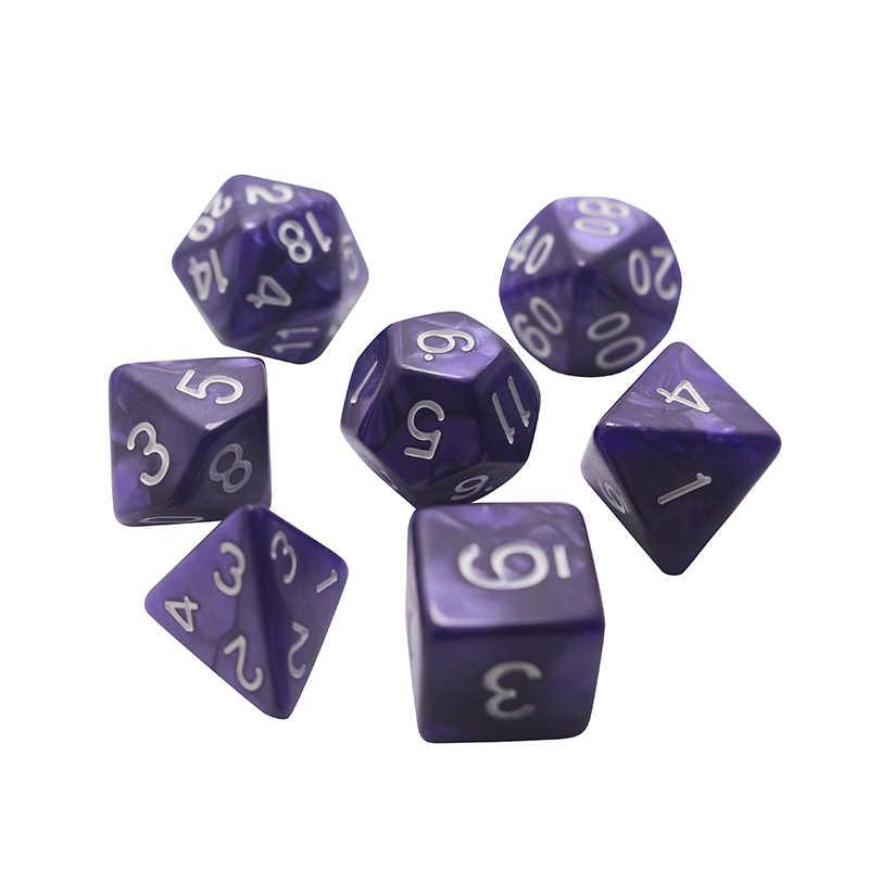 25 couleurs 7 pièces/lot jeu de dés D4, D6, D8, D10, D10 %, D12, D20 accessoires colorés pour jeu de société, mdn, RPG
