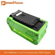 40v 6000mah li-ion bateria recarregável substituição para greenworks gen 2g-max 29462 29472 20262 29282 bateria da ferramenta elétrica l70