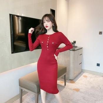 2019 nouvelle mode, Sexy, mince, Double poches, simple boutonnage, longueur moyenne robe trapèze avec fesses