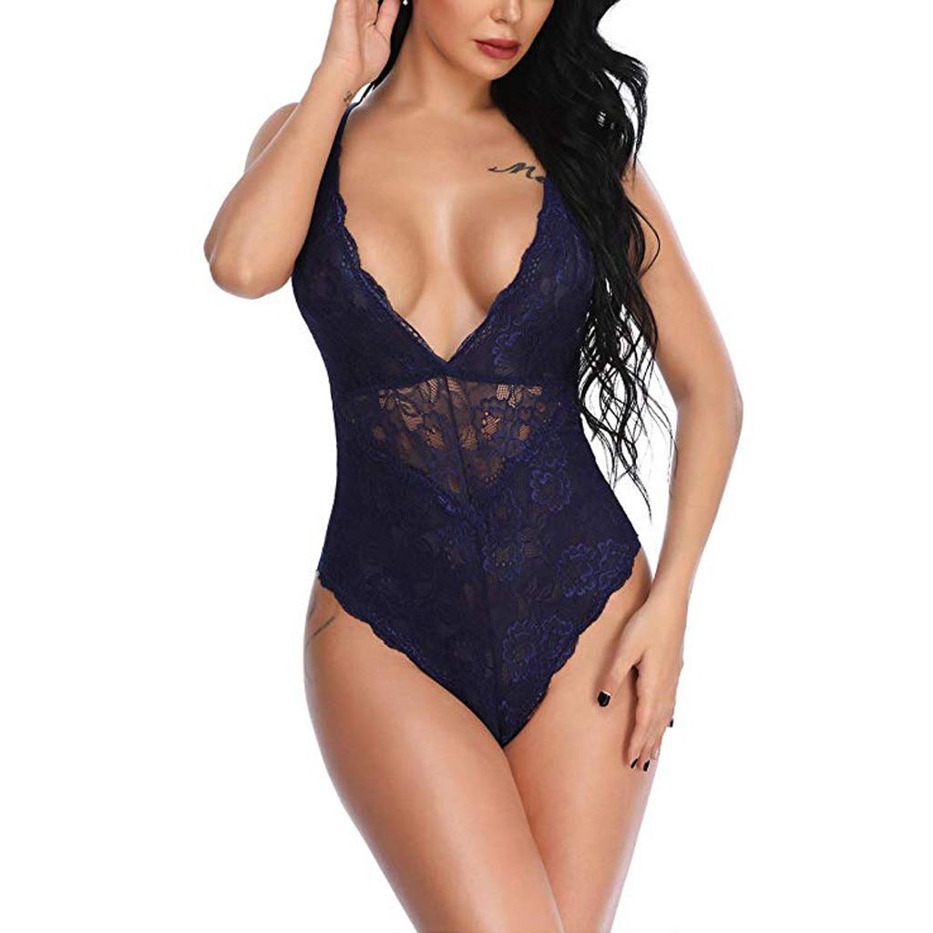 Women Lace Deep V-neck Backless Bodysuit Lingerie Sexy Camis Skinny Body Suit Female Solid Plus Size Teddy Bodysuits Slim S-3XL