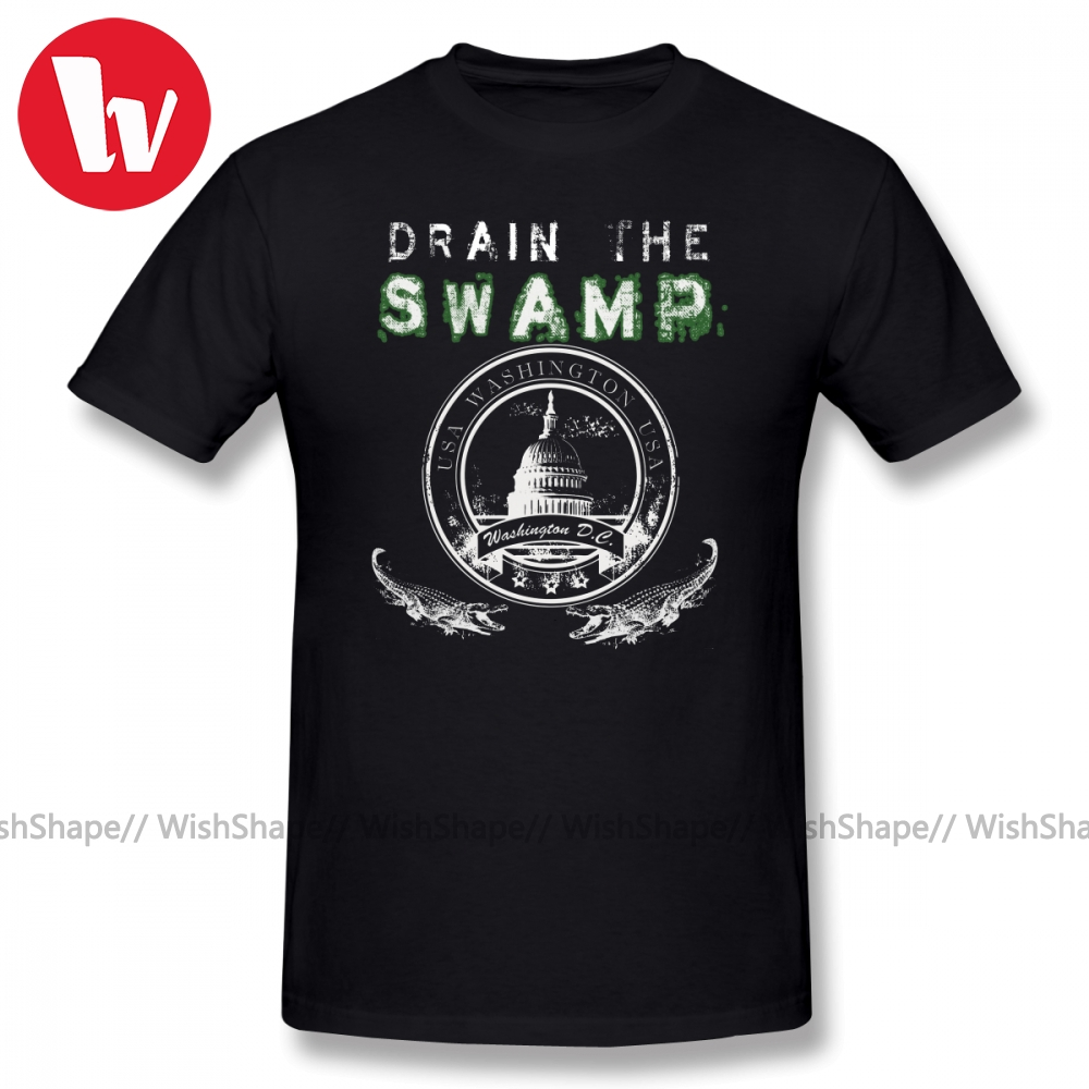 Elektro T Shirt drenaj bataklık Pro Trump giyim T-Shirt erkekler 3d baskı kısa kollu tişört grafik % 100 pamuk rahat T shirt