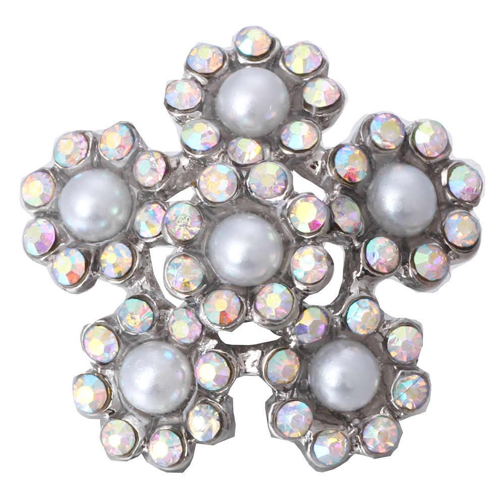 5 pcs/lot gros bijoux à pression mixte 18mm strass perle boutons pression bijoux Fit bouton pression collier bijoux à breloques