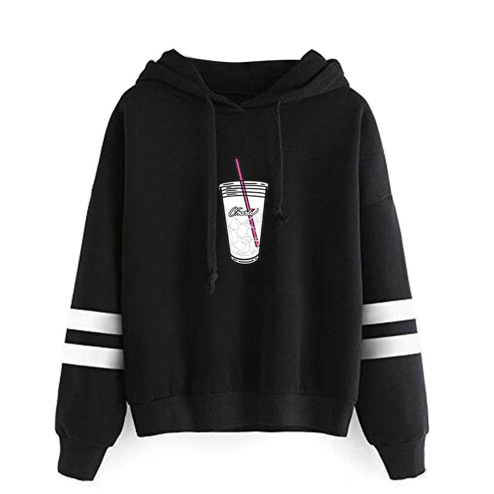 FRDUN TOMMY Ice Coffee Splatter Hoodies Sweatshirts Women Hoodie Charli DAmelio Black Hand Embroidery Pullover Unisex Tracksuit